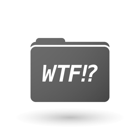 wtf: Illustration of an isolated folder icon with    the text WTF!?