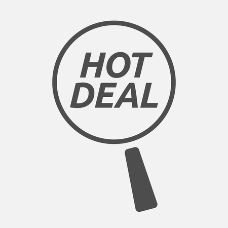 hot deal: Illustration of an isolated magnifying glass icon focusing    the text HOT DEAL