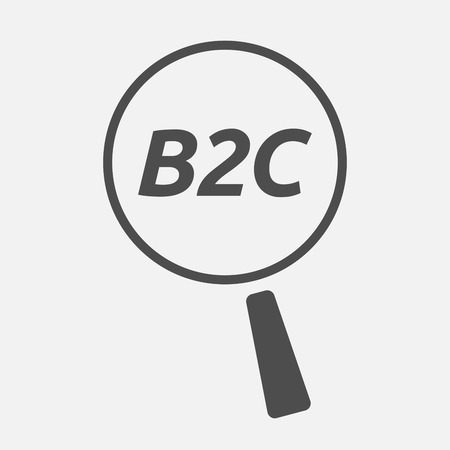 b2c: Illustration of an isolated magnifying glass icon focusing    the text B2C