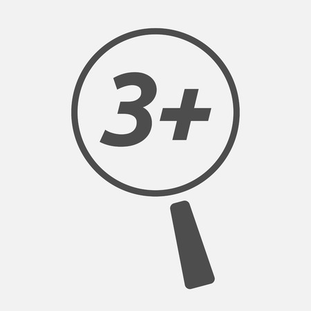 approval rate: Illustration of an isolated magnifying glass icon focusing    the text 3+ Illustration