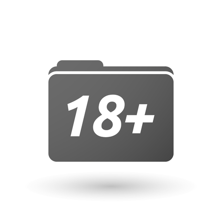 information age: Illustration of an isolated folder icon with    the text 18+