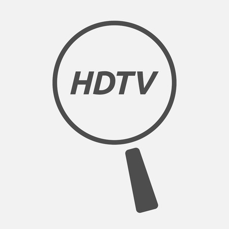 hdtv: Illustration of an isolated magnifying glass icon focusing    the text HDTV