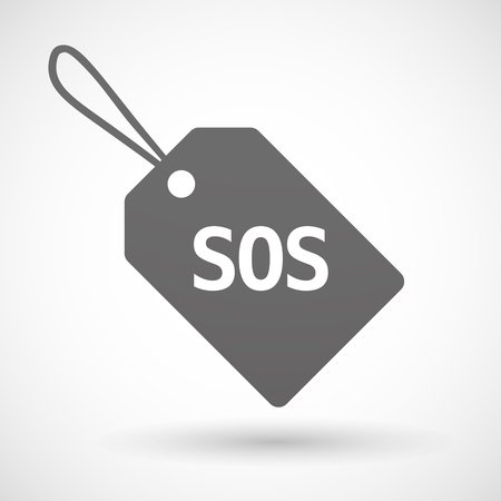 salvation: Illustration of an isolated product label icon with    the text SOS
