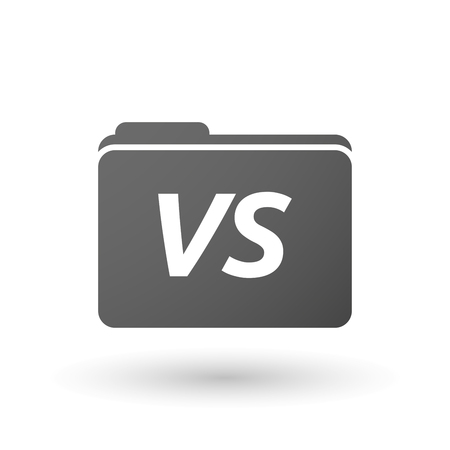 vs: Illustration of an isolated folder icon with    the text VS