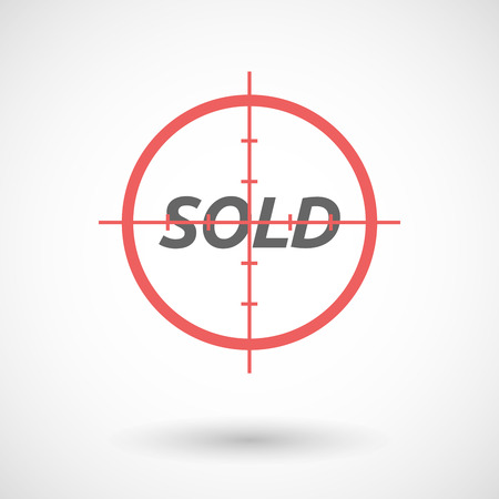 stock market quote: Illustration of an isolated red crosshair icon with    the text SOLD Illustration