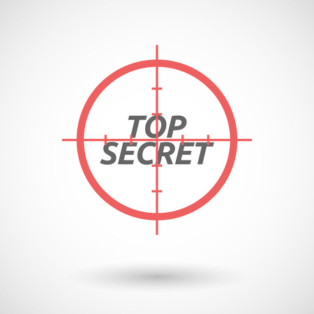 top gun: Illustration of an isolated red crosshair icon with    the text TOP SECRET