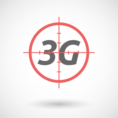 3g: Illustration of an isolated red crosshair icon with    the text 3G Illustration