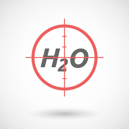 h2o: Illustration of an isolated red crosshair icon with    the text H2O