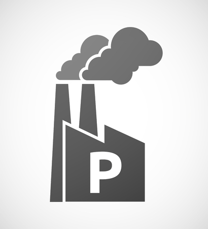 p buildings: Illustration of an isolated industrial factory icon with    the letter P