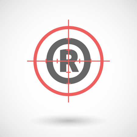 gun license: Illustration of an isolated red crosshair icon with    the registered trademark symbol Illustration