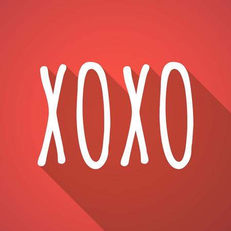 xoxo: Illustration of a long shadow vector illustration of    the text XOXO Illustration