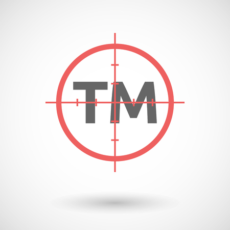 gun license: Illustration of an isolated red crosshair icon with    the text TM Illustration