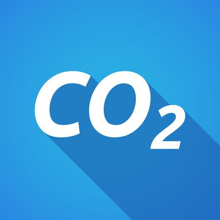 carbon emission: Illustration of a long shadow vector illustration of    the text CO2 Illustration