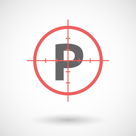valet: Illustration of an isolated red crosshair icon with    the letter P