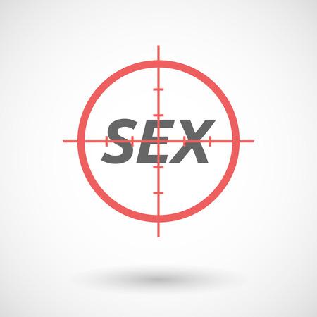 militaire sexy: Illustration d'une icône rouge réticule isolée avec le SEX texte