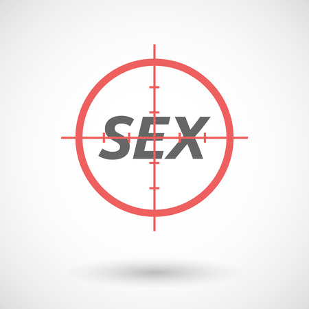 militaire sexy: Illustration of an isolated red crosshair icon with    the text SEX