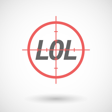 lol: Illustration of an isolated red crosshair icon with    the text LOL