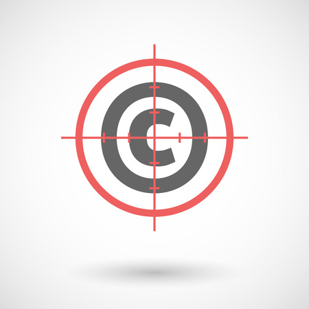 sniper crosshair: Illustration of an isolated red crosshair icon with    the  copyright sign