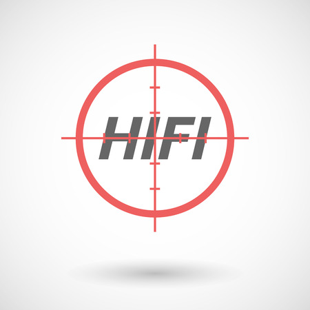 hifi: Illustration of an isolated red crosshair icon with    the text HIFI