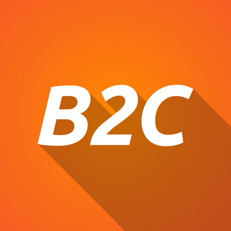 b2c: Illustration of a long shadow vector illustration of    the text B2C Illustration