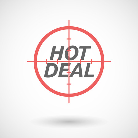 bargains: Illustration of an isolated red crosshair icon with    the text HOT DEAL