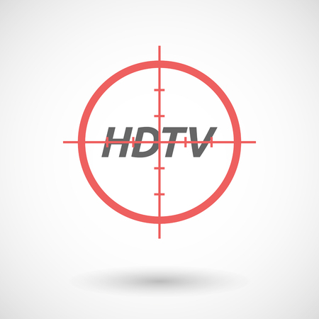 hdtv: Illustration of an isolated red crosshair icon with    the text HDTV