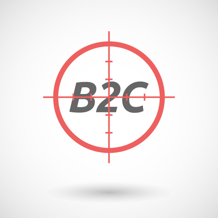 b2c: Illustration of an isolated red crosshair icon with    the text B2C Illustration