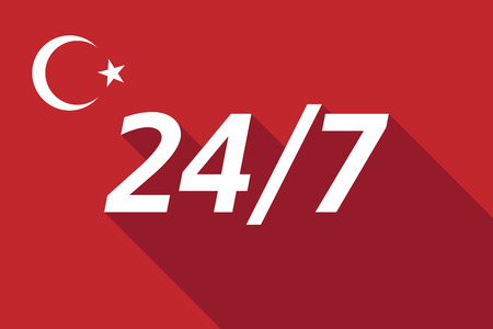 Illustration of a long shadow Turkey flag with    the text 247