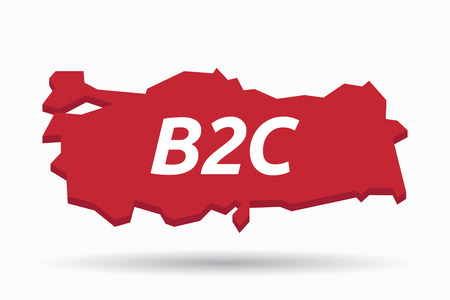 Illustration of an isolated Turkey map with    the text B2C Illustration