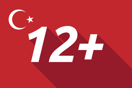 approval rate: Illustration of a long shadow Turkey flag with    the text 12+ Illustration