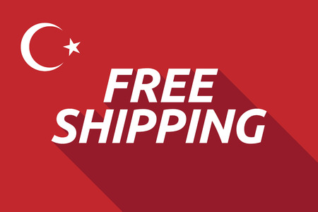 Illustration of a long shadow Turkey flag with     the text FREE SHIPPING