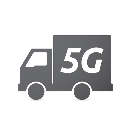 5g: Illustration of an isolated truck icon with    the text 5G Illustration