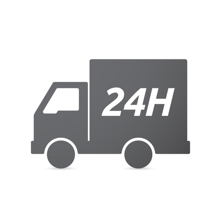 24h: Illustration of an isolated truck icon with    the text 24H Illustration