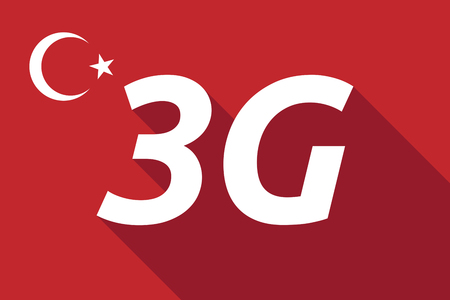 Illustration of a long shadow Turkey flag with    the text 3G