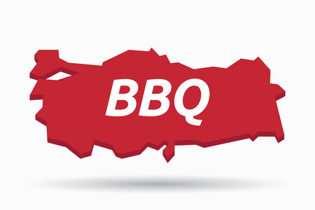 bbq turkey: Illustration of an isolated Turkey map with    the text BBQ