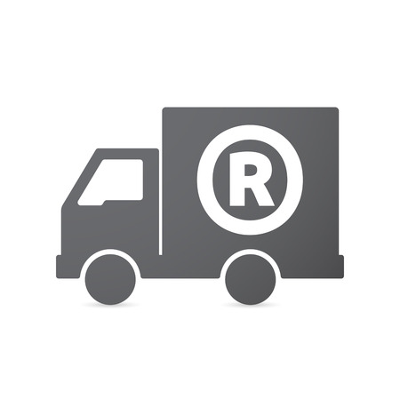 r transportation: Illustration of an isolated truck icon with    the registered trademark symbol Illustration