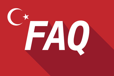 long term: Illustration of a long shadow Turkey flag with    the text FAQ Illustration