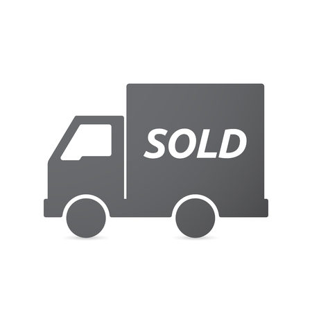 sold isolated: Illustration of an isolated truck icon with    the text SOLD Illustration