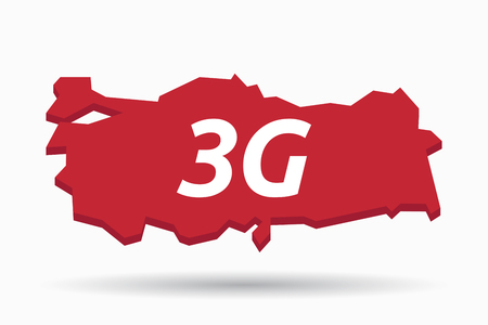 3g: Illustration of an isolated Turkey map with    the text 3G Illustration