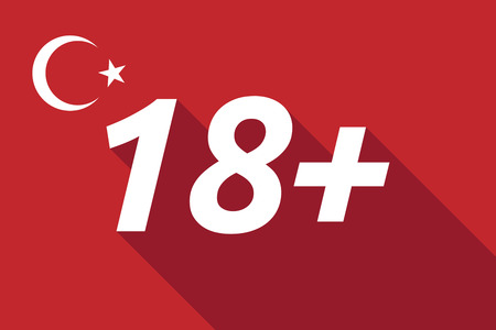 recommend: Illustration of a long shadow Turkey flag with    the text 18+