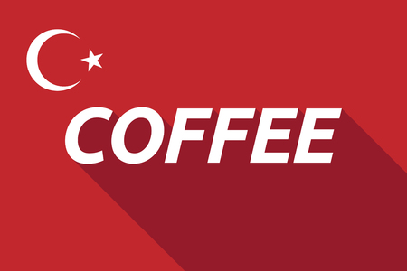Illustration of a long shadow Turkey flag with    the text COFFEE Illustration