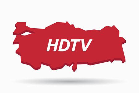 hdtv: Illustration of an isolated Turkey map with    the text HDTV