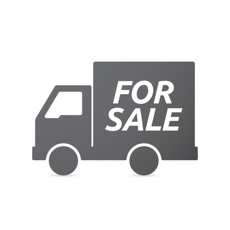 car for sale: Illustration of an isolated truck icon with    the text FOR SALE