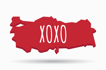 xoxo: Illustration of an isolated Turkey map with    the text XOXO