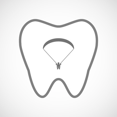 paragliding: Illustration of an isolated line art tooth icon with a paraglider