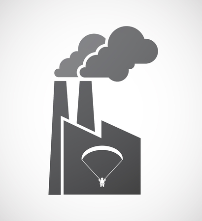 glide: Illustration of an isolated factory icon with a paraglider