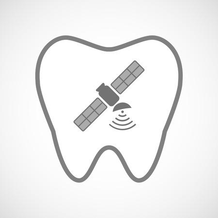 comunicacion oral: Ilustración de un icono de diente aislado arte de línea con un satélite