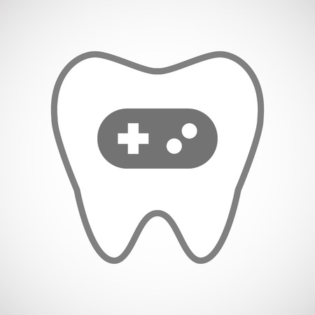 game pad: Illustration of an isolated line art tooth icon with a game pad Illustration