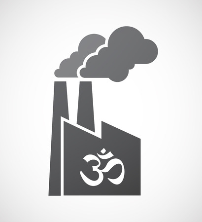 om sign: Illustration of an isolated factory icon with an om sign