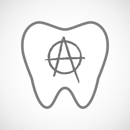 anarchist: Illustration of an isolated line art tooth icon with an anarchy sign